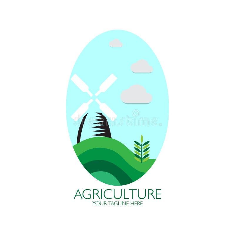 Landbouw met het embleem van de windmolen stock illustratie