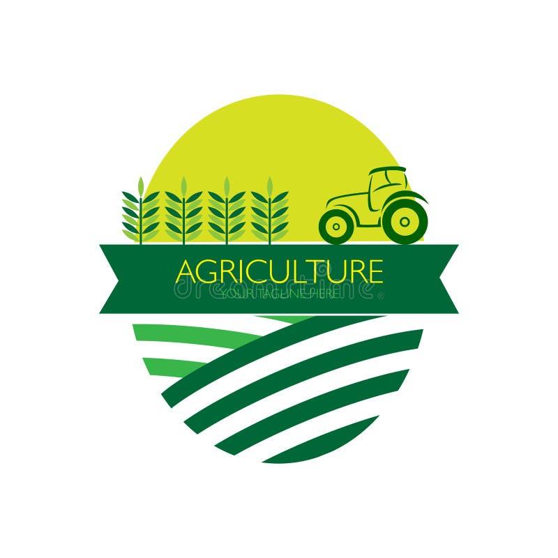 Landbouw met tractorembleem stock illustratie