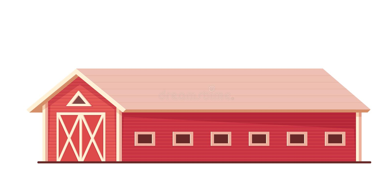 Landbouw Rode die landbouwbedrijfschuur of boerderij op wit wordt geïsoleerd royalty-vrije illustratie