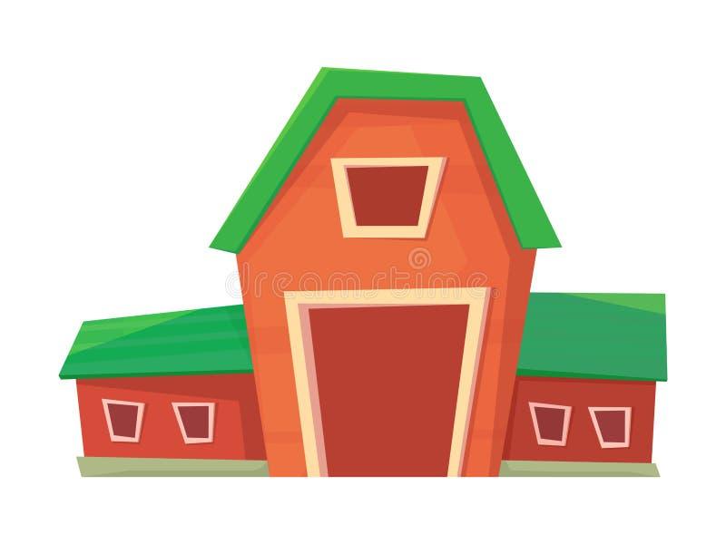 Landbouw Rode die landbouwbedrijfschuur of boerderij op wit wordt ge?soleerd royalty-vrije illustratie