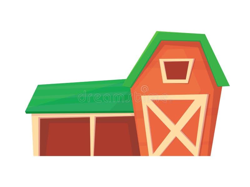 Landbouw Rode die landbouwbedrijfschuur of boerderij op wit wordt ge?soleerd stock illustratie
