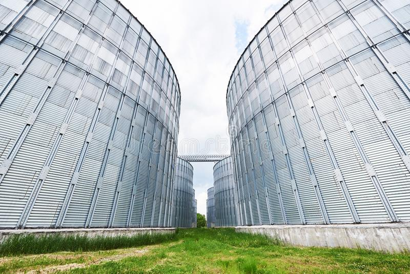 Landbouw silo's De Buitenkant van de bouw Opslag en het drogen van korrels, tarwe, graan, soja, zonnebloem tegen de blauwe hemel royalty-vrije stock foto
