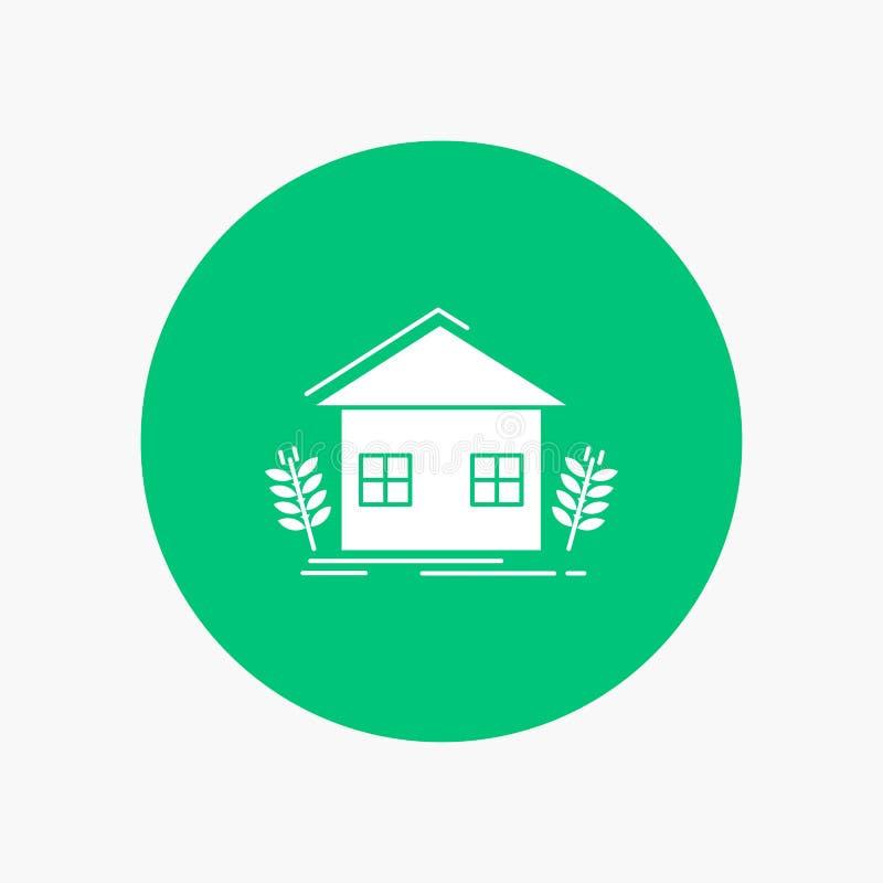 landbouw, stedelijk, ecologie, milieu, de landbouw Wit Glyph Pictogram in Cirkel Vectorknoopillustratie vector illustratie