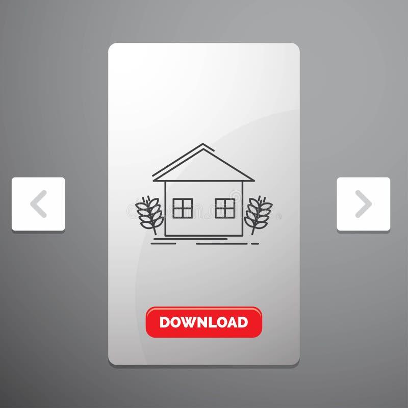 landbouw, stedelijk, ecologie, milieu, het Pictogram van de de landbouwlijn in Carousal het Ontwerp van de Pagineringschuif & Rod royalty-vrije illustratie