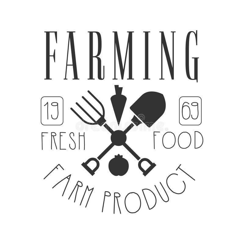Landbouw vers voedsel landbouwproduct embleem Zwart-witte Retro Vectorillustratie stock illustratie