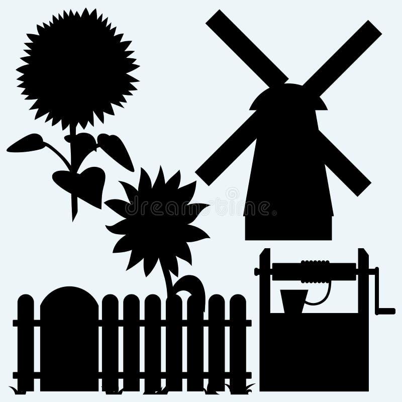 Landbouw Zonnebloem en omheining, oude waterput en windmolen vector illustratie