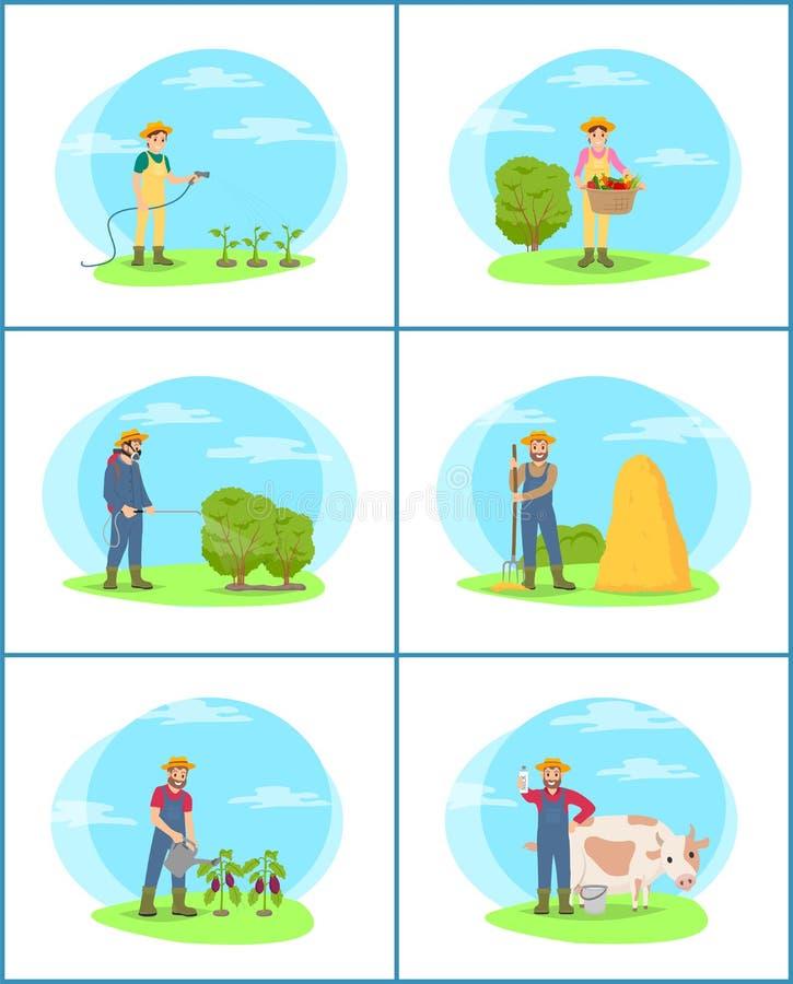 Landbouwaanplantingsmensen Geplaatst Vectorillustratie vector illustratie