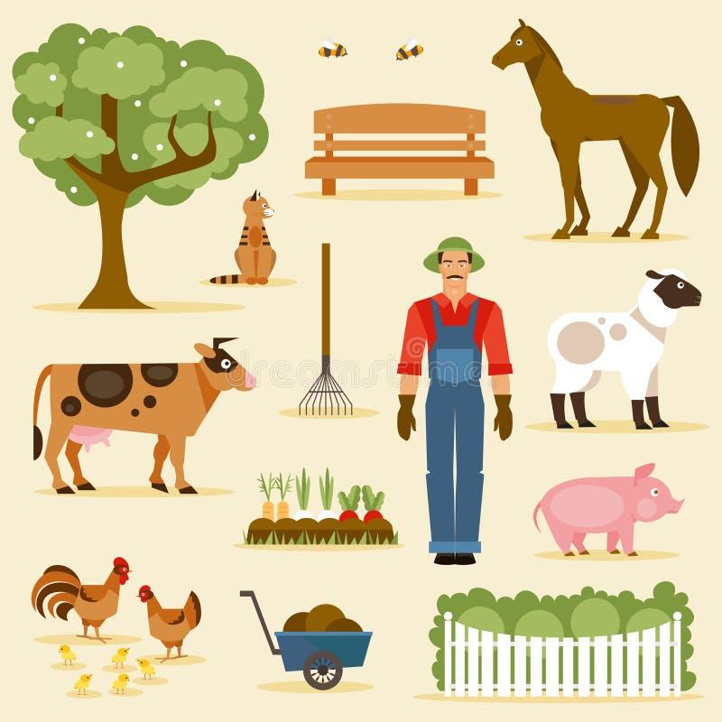 Landbouwbedrijf Beeldverhaal polair met harten stock illustratie