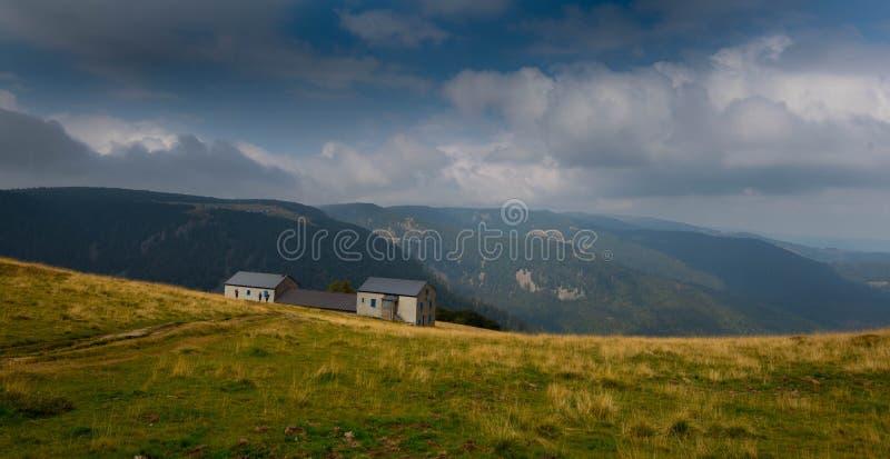 Landbouwbedrijf in de hoogten de Vogezen-bergen stock afbeeldingen