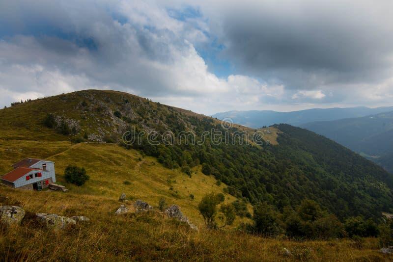 Landbouwbedrijf in de hoogten de Vogezen-bergen royalty-vrije stock foto's