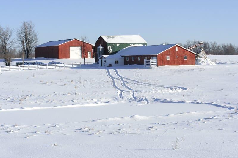 Landbouwbedrijf in de winter stock afbeeldingen