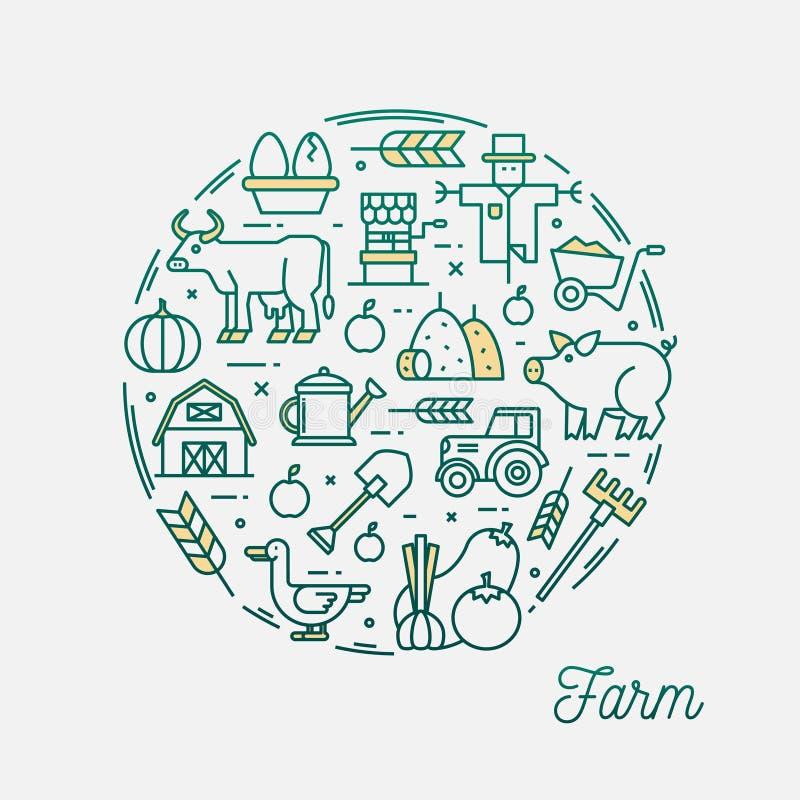 Landbouwbedrijf, dunne cirkel het kaderbanner van lijnpictogrammen royalty-vrije illustratie