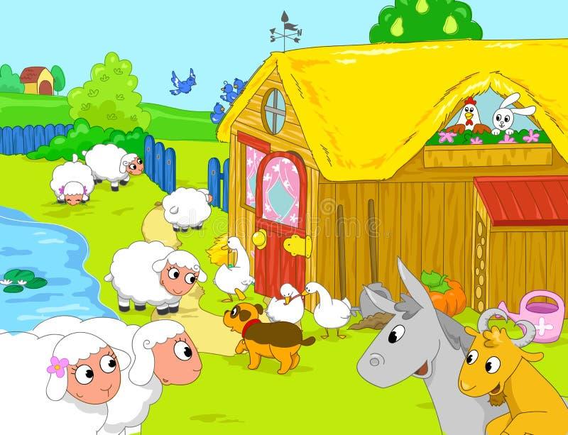 Landbouwbedrijf en grappige dieren dichtbij meer Beeldverhaalillustra stock illustratie