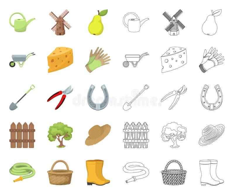 Landbouwbedrijf en het tuinieren beeldverhaal, overzichtspictogrammen in vastgestelde inzameling voor ontwerp Landbouwbedrijf en  vector illustratie
