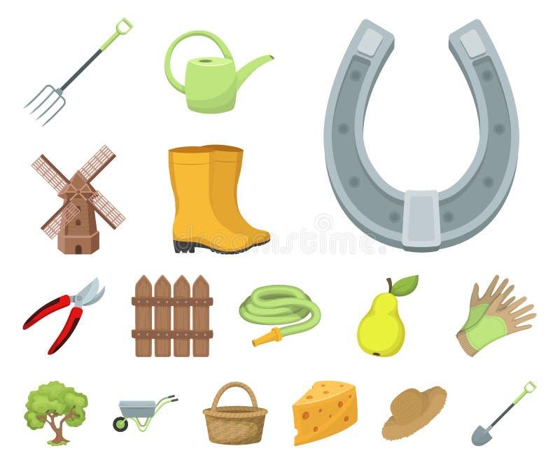 Landbouwbedrijf en het tuinieren beeldverhaalpictogrammen in vastgestelde inzameling voor ontwerp Landbouwbedrijf en materiaal ve vector illustratie