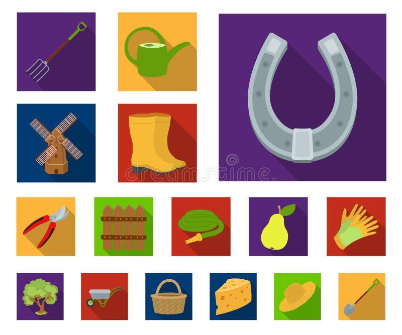 Landbouwbedrijf en het tuinieren vlakke pictogrammen in vastgestelde inzameling voor ontwerp Landbouwbedrijf en materiaal vector  stock illustratie