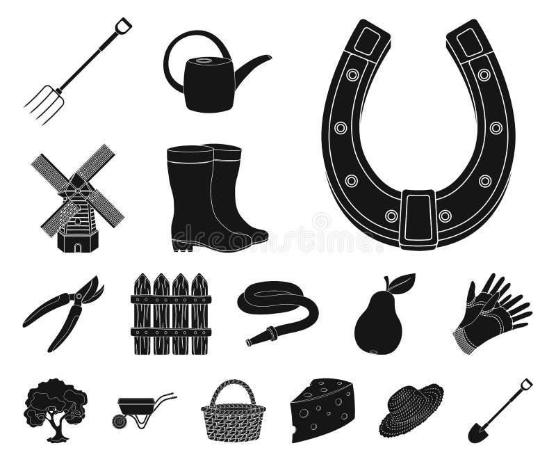 Landbouwbedrijf en het tuinieren zwarte pictogrammen in vastgestelde inzameling voor ontwerp Landbouwbedrijf en materiaal vector  vector illustratie