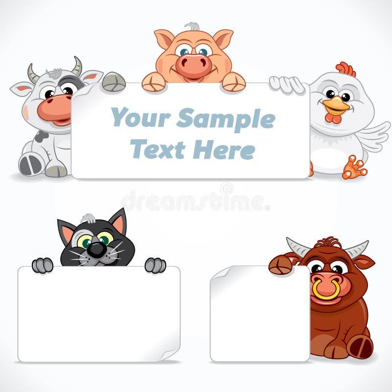 Landbouwbedrijf en Huisdieren met Emty-Teken vector illustratie