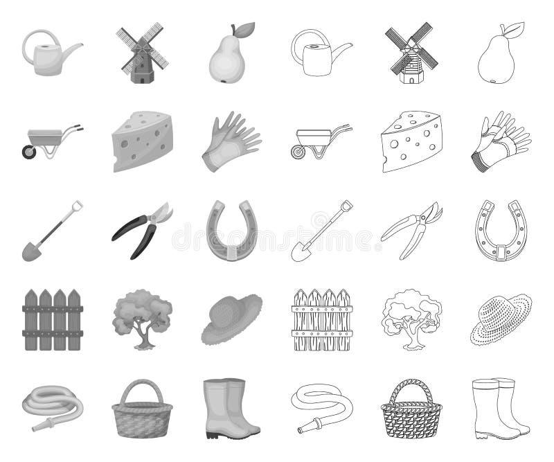 Landbouwbedrijf en tuinieren mono, overzichtspictogrammen in vastgestelde inzameling voor ontwerp Landbouwbedrijf en materiaal he vector illustratie