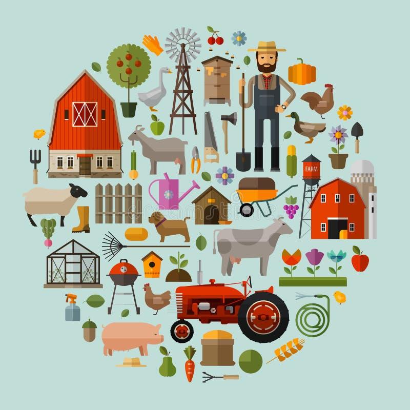 Landbouwbedrijf in het dorp Een reeks elementen - huis royalty-vrije illustratie