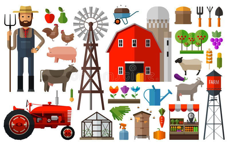 Landbouwbedrijf in het ontwerpmalplaatje van het dorps vectorembleem stock illustratie