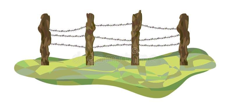 Landbouwbedrijf houten omheining met metaaldraad tussen op gras Vector illustratie stock illustratie