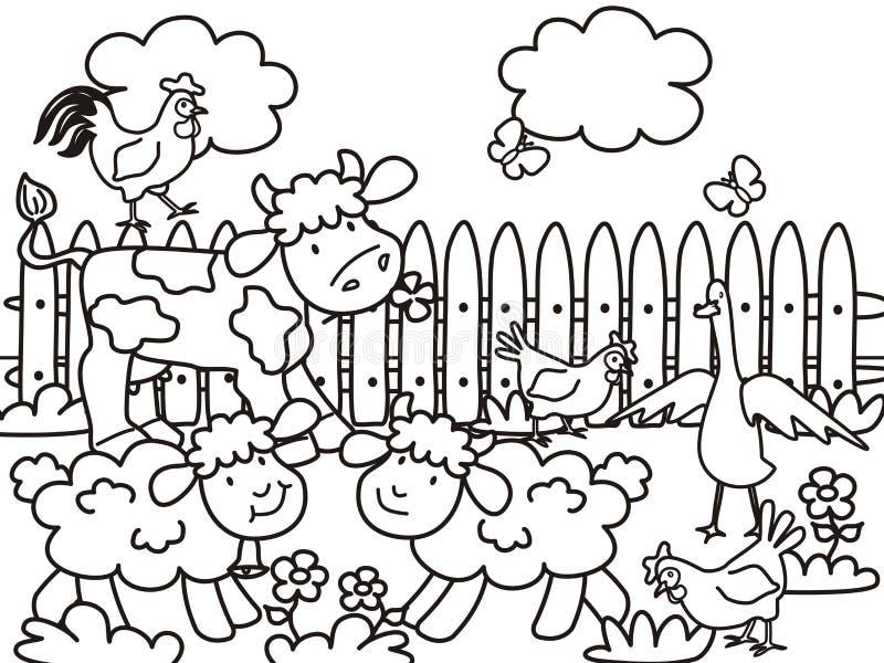Landbouwbedrijf-kleuring royalty-vrije illustratie