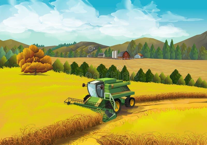 Landbouwbedrijf landelijk landschap stock illustratie