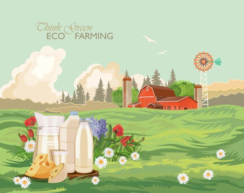 Landbouwbedrijf landelijk landschap met melk Denk Groen Landbouw Vectorillustratie Kleurrijk platteland Affiche met uitstekend la stock illustratie