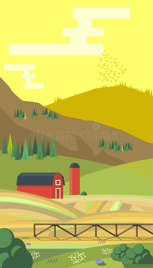 Landbouwbedrijf met mountes, het landschap van het land, in vlakke stijlontwerpsjabloon Illustratie vector illustratie