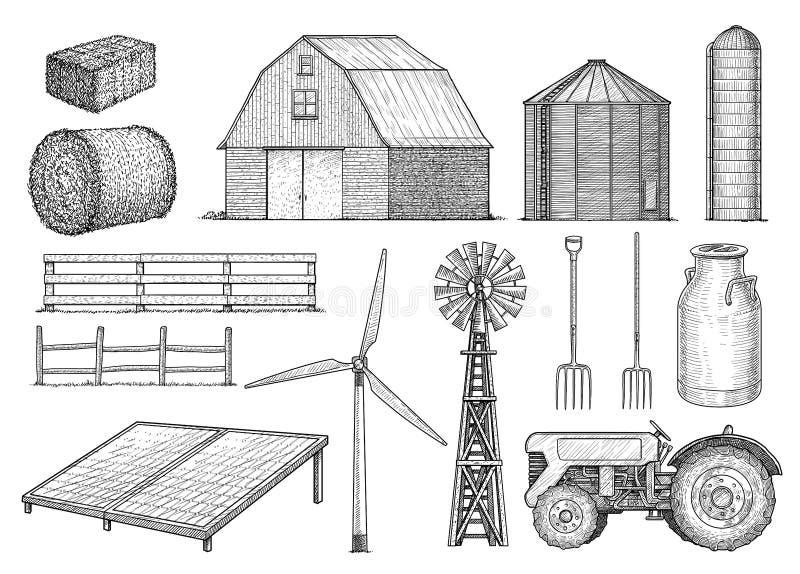 Landbouwbedrijf, platteland, landelijke objecten inzameling, illustratie, tekening, gravure, inkt, lijnkunst, vector vector illustratie