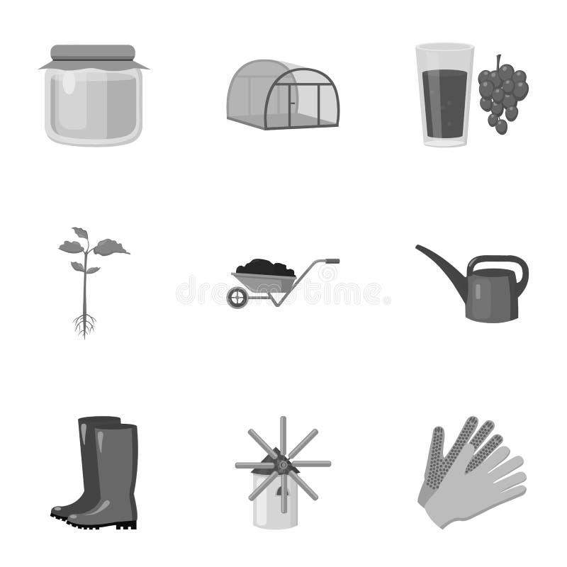 Landbouwbedrijf vastgestelde pictogrammen in zwart-wit stijl Grote inzameling van de voorraadillustratie van het landbouwbedrijf  vector illustratie