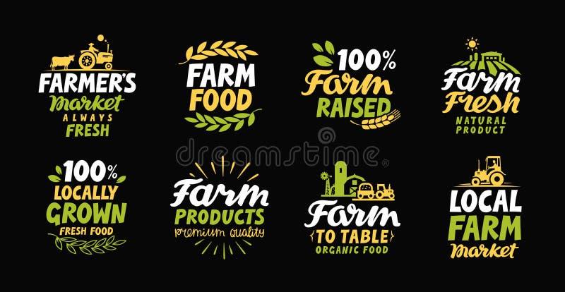 Landbouwbedrijf verse etiketten Landbouwerspictogram Landbouwembleem Het symbool van de organische, natuurvoedinginzameling stock illustratie