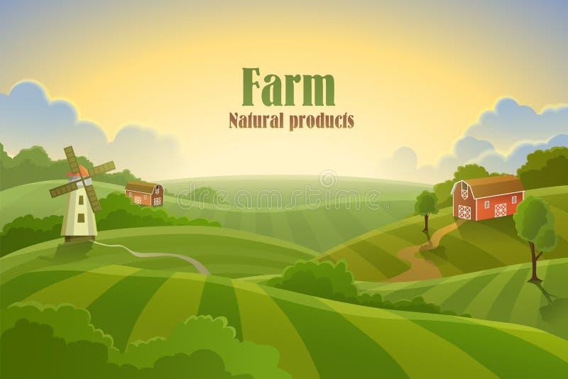 Landbouwbedrijf vlak landschap stock illustratie