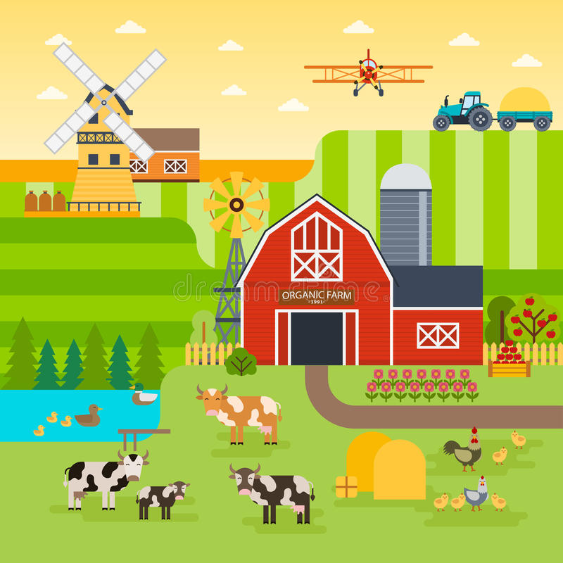 Landbouwbedrijf vlak vectorlandschap Natuurvoedingconcept voor om het even welk ontwerp De illustratie van het landbouwbedrijflan stock illustratie