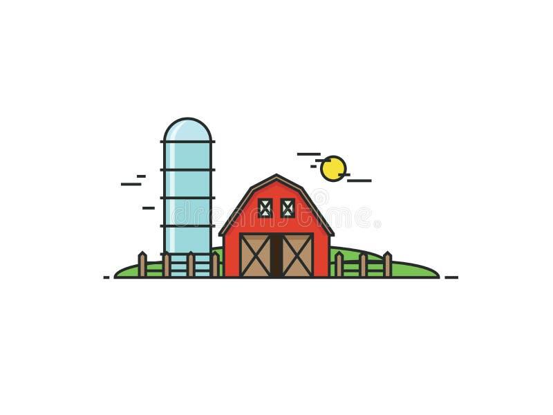 Landbouwbedrijf in vlakke lijnstijl Illustratie vector illustratie