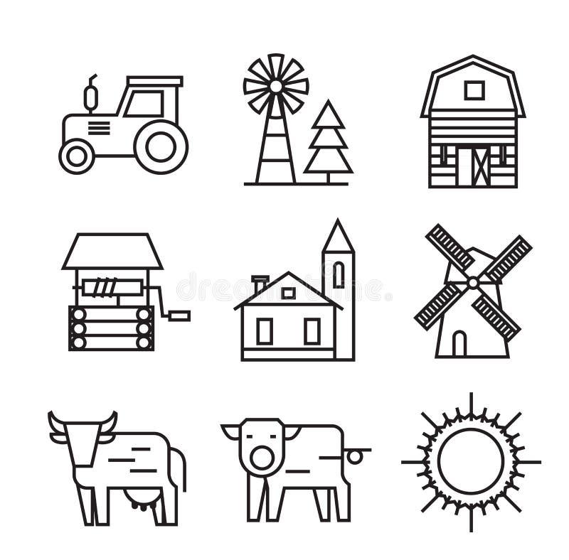 Landbouwbedrijf vlakke pictogrammen royalty-vrije illustratie