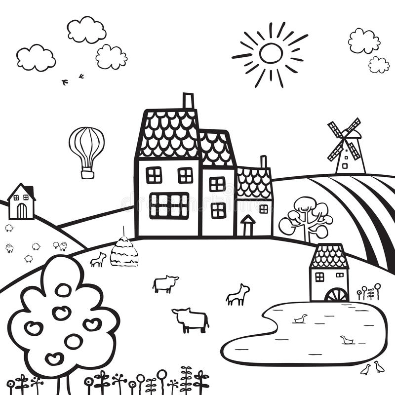 Landbouwbedrijf Zwart Wit Landschap Vector Illustratie