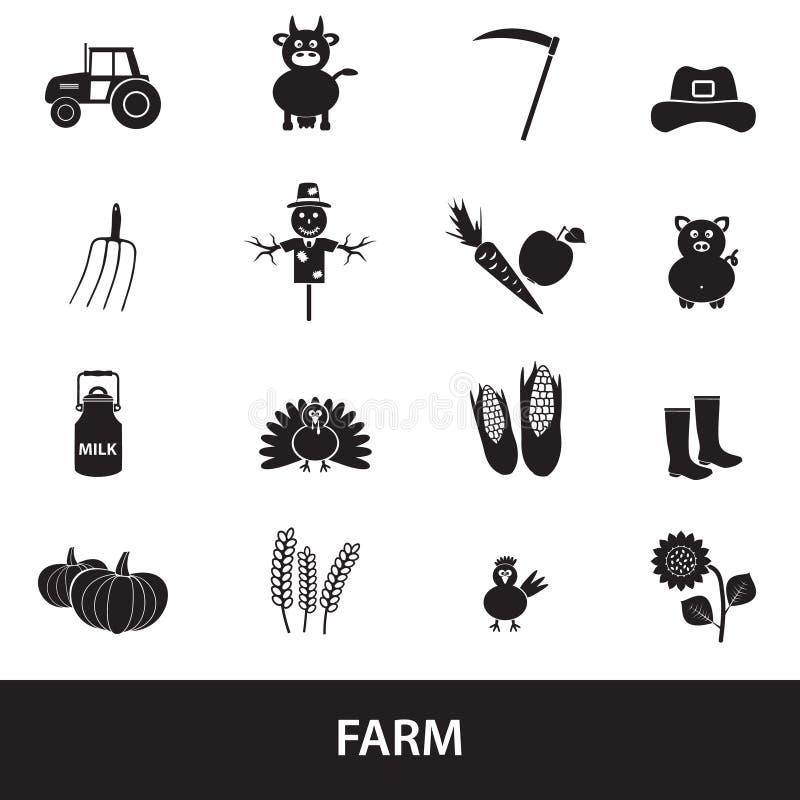 Landbouwbedrijf zwarte eenvoudige pictogrammen geplaatst vector royalty-vrije illustratie