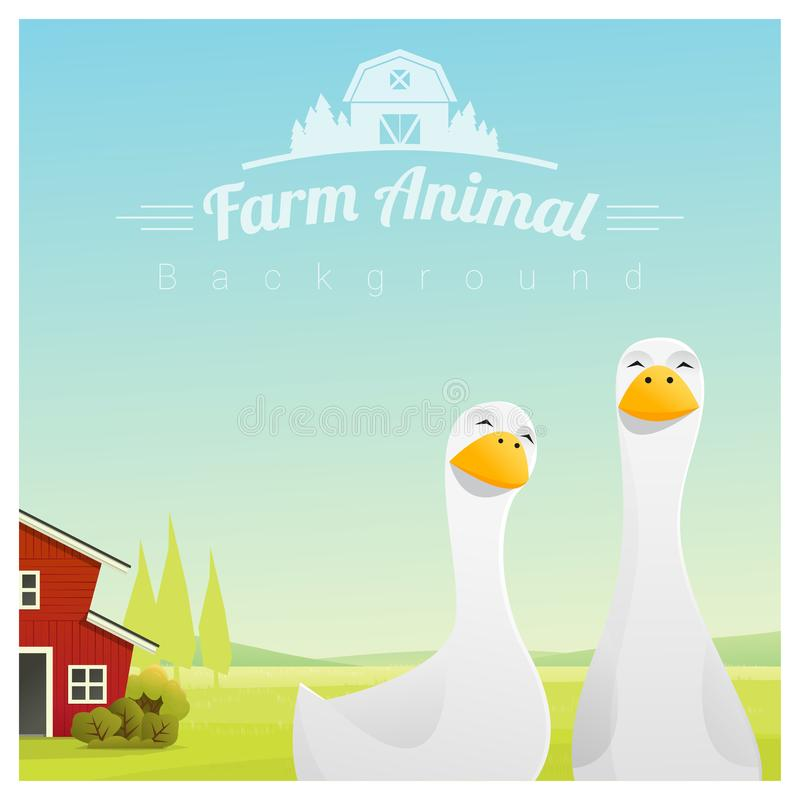 Landbouwbedrijfdier en Landelijke landschapsachtergrond met eenden stock illustratie