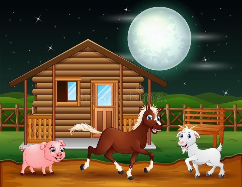 Landbouwbedrijfdieren die in de nachtscène spelen royalty-vrije illustratie