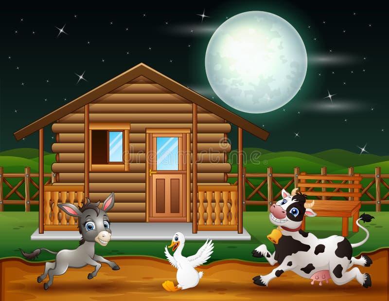 Landbouwbedrijfdieren die in de nachtscène spelen vector illustratie