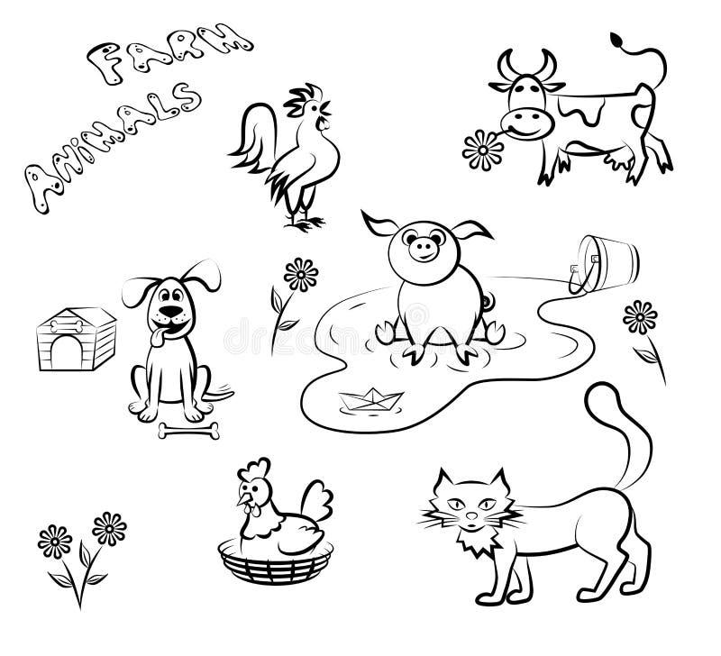 Landbouwbedrijfdieren in een lineaire stijl Reeks van vectorillustratie vector illustratie