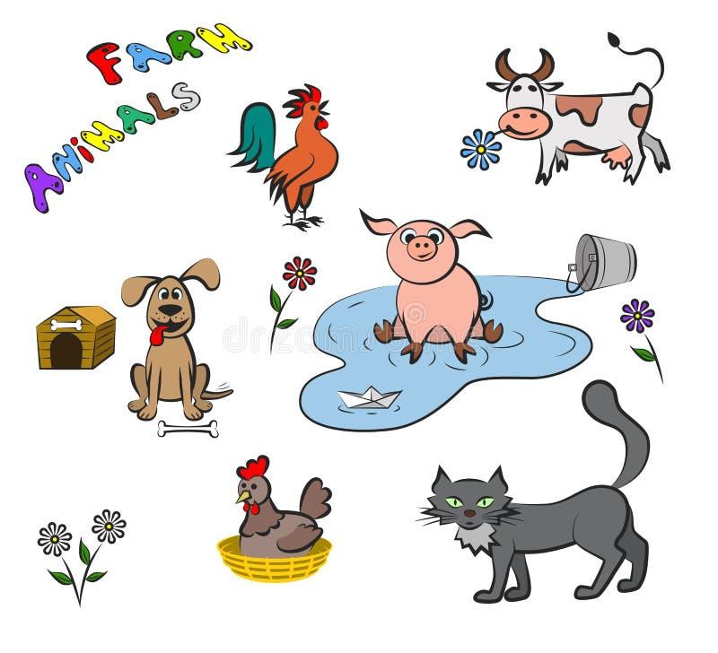 Landbouwbedrijfdieren in een vlakke stijl Reeks van vectorillustratie royalty-vrije illustratie