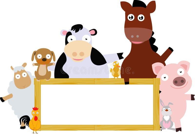Landbouwbedrijfdieren en houten banner royalty-vrije illustratie