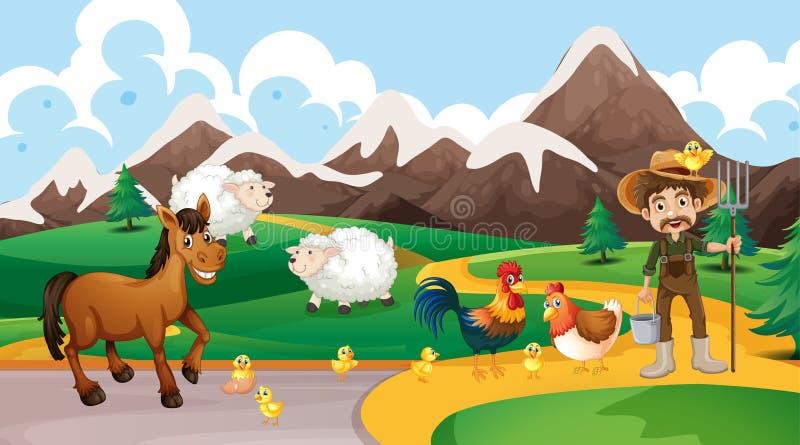 Landbouwbedrijfdieren en landbouwersscène stock illustratie