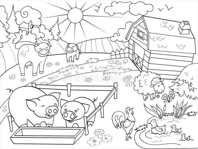 Landbouwbedrijfdieren en landelijke landschap het kleuren vector voor volwassenen stock illustratie