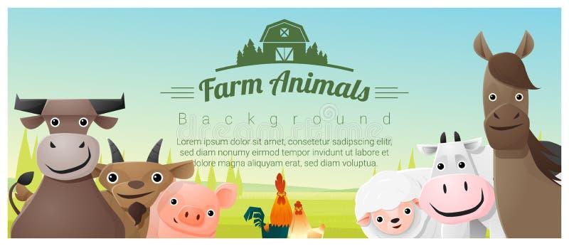 Landbouwbedrijfdieren en Landelijke landschapsachtergrond vector illustratie