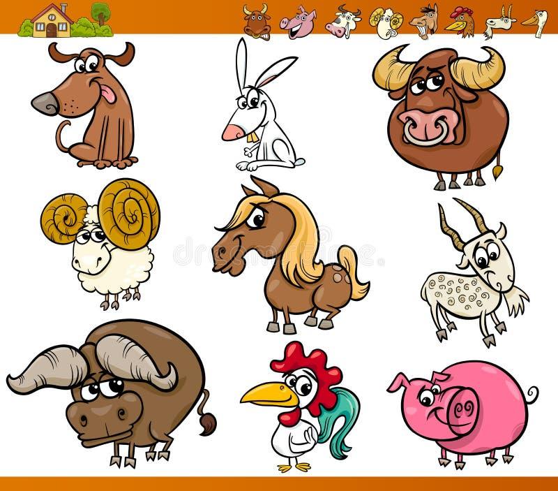 Landbouwbedrijfdieren geplaatst beeldverhaalillustratie stock illustratie