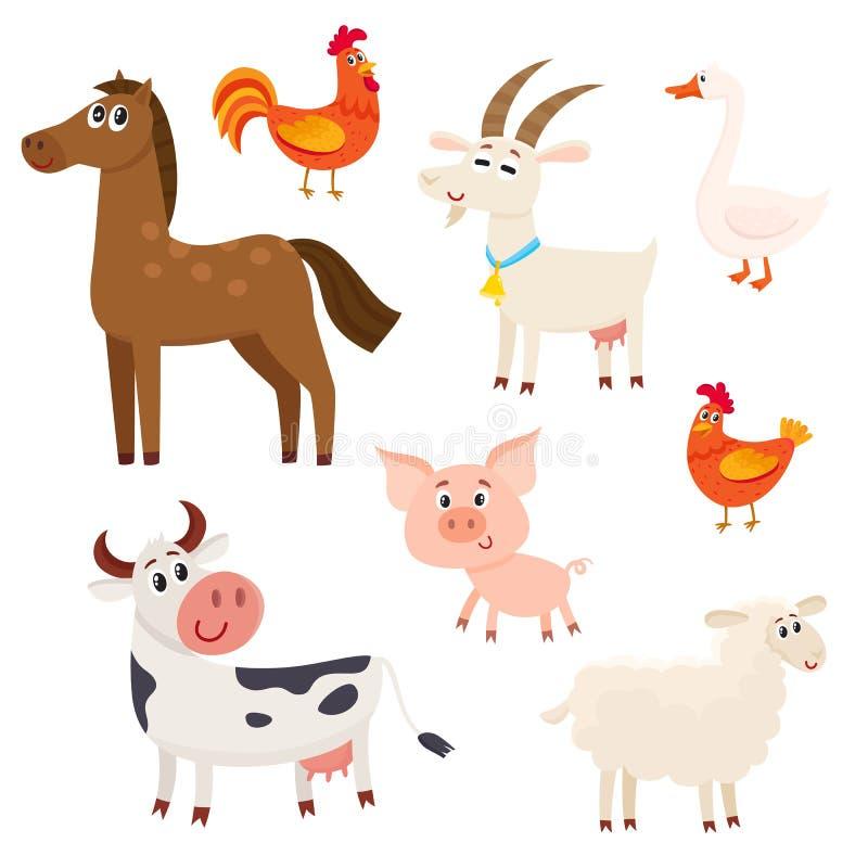 Landbouwbedrijfdieren - koe, schapen, paard, varken, geit, haan, kip, gans stock illustratie